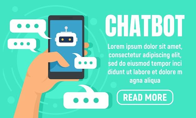 Smartphone chatbot banner, vlakke stijl Premium Vector