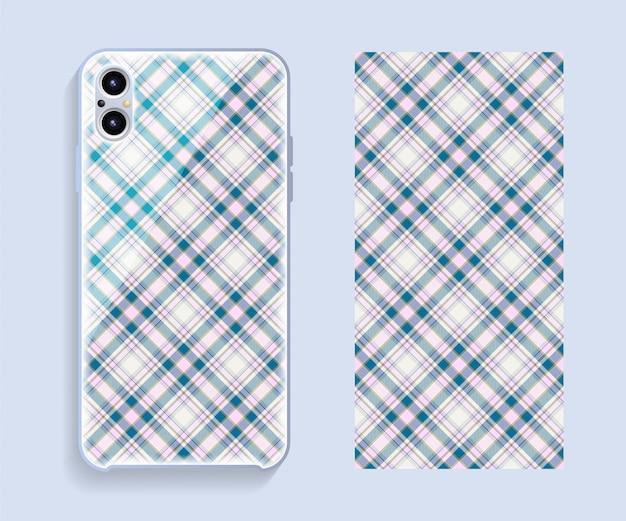 Smartphone cover ontwerp mockup. sjabloon geometrisch patroon voor de achterkant van de mobiele telefoon. plat ontwerp. Premium Vector