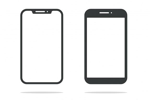 Smartphone de vorm van een moderne mobiele telefoon ontworpen om een dunne rand te hebben. Premium Vector