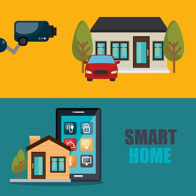Smartphone die smart home bestuurt Gratis Vector