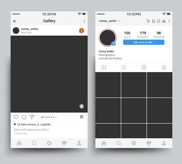 Smartphone-fotolijstweergave van mobiele applicatie, geïnspireerd op instagramsjabloon. Premium Vector