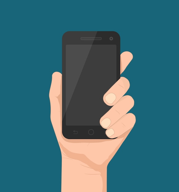 Smartphone in de hand sjabloon voor web- en mobiele applicaties Gratis Vector