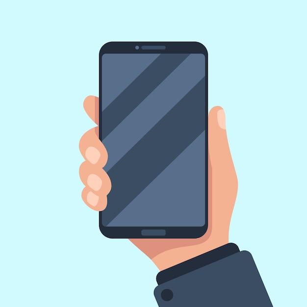 Smartphone in de hand. Premium Vector