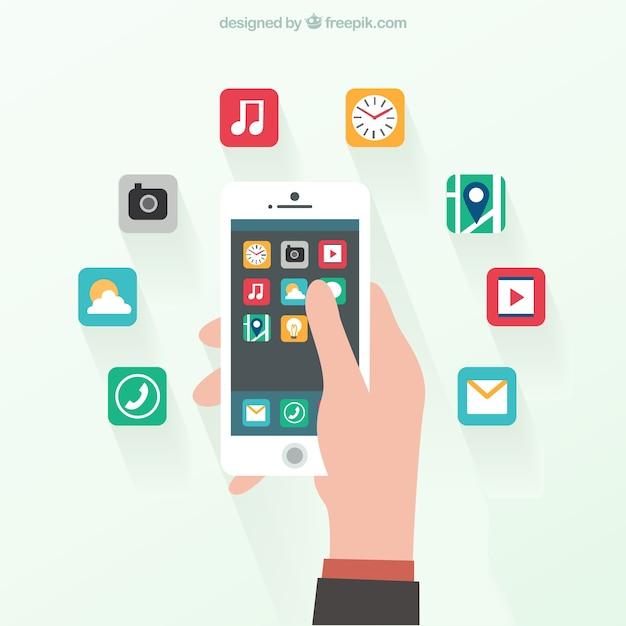 Smartphone in platte ontwerp Gratis Vector