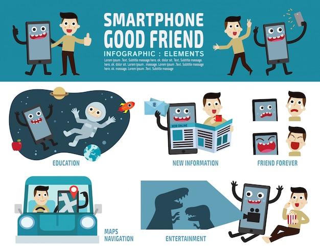 Smartphone infographic Premium Vector