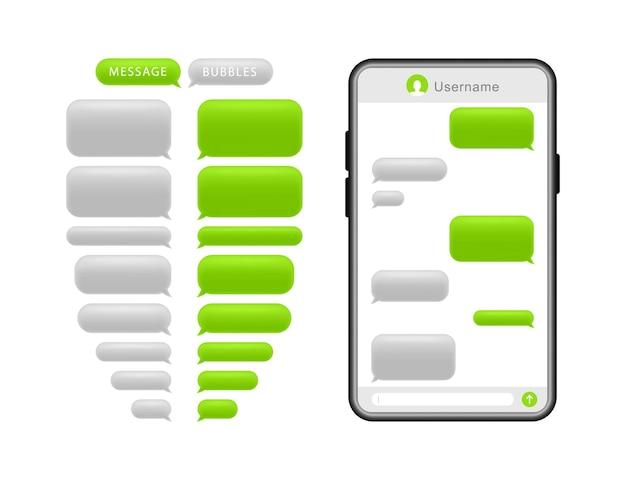 Smartphone met berichtbellen. tekstballonnen voor chat. Premium Vector