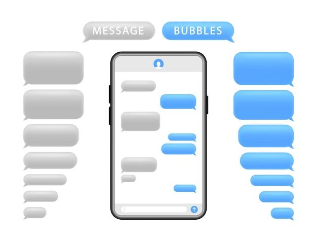 Smartphone met berichtbellen. telefoonchatscherm en sms-tekst. Premium Vector