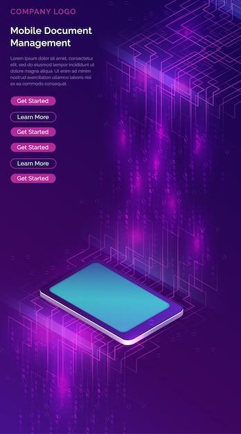 Smartphone met de isometrische banner van de grote gegevensstroom Gratis Vector