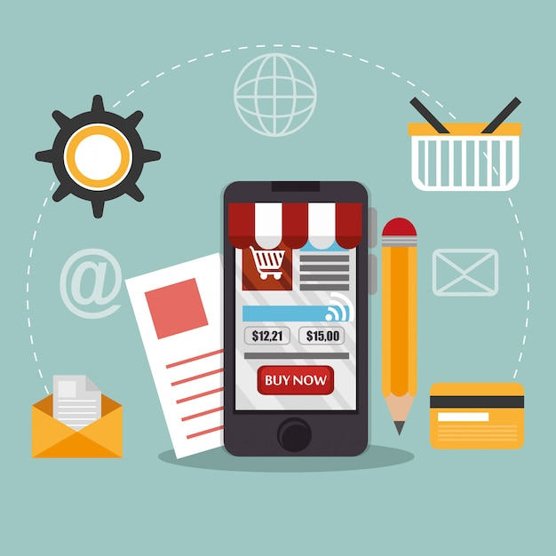 Smartphone met elektronische handel pictogrammen Gratis Vector
