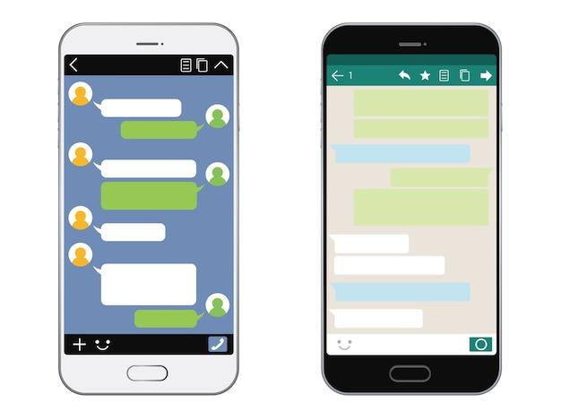 Smartphone met geïsoleerde sns-interface Premium Vector