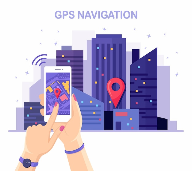 Smartphone met gps-navigatie-app, tracking in de hand. nacht stad landschap, stadsgezicht Premium Vector