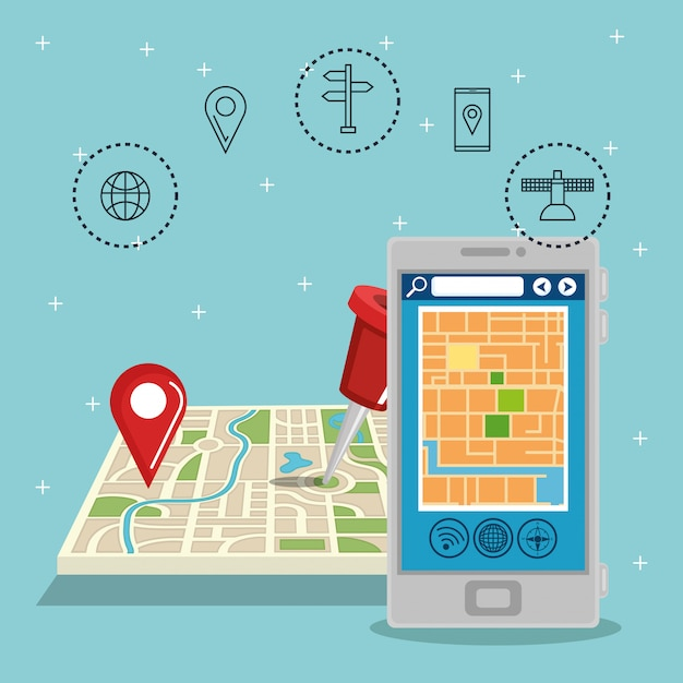 Smartphone met gps-navigatie-app Gratis Vector