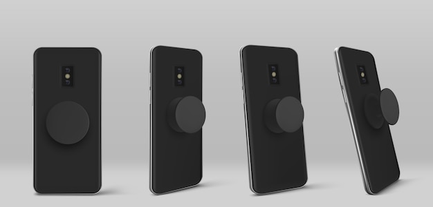 Smartphone met houder voor pop-socket aan de achterkant in verschillende hoeken. realistische sjabloon van zwarte mobiele telefoon met cirkel pop grip en standaard geïsoleerd op een grijze achtergrond Gratis Vector