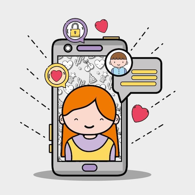 Smartphone met meisje binnen en praatjebelboodschap Premium Vector