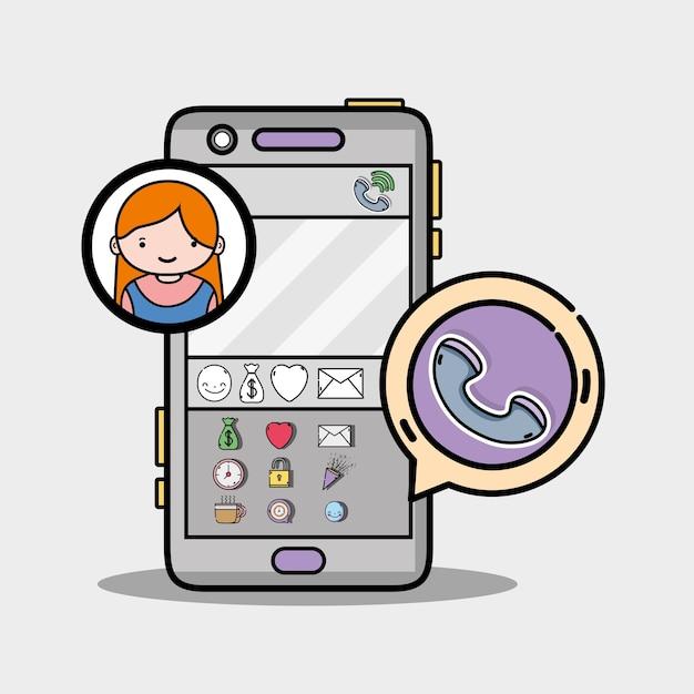 Smartphone met meisje praatjebelbericht Premium Vector