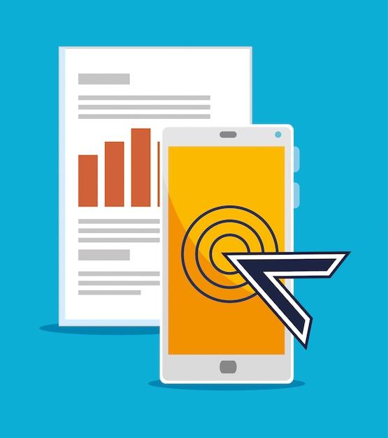 Smartphone met muiscursor en bedrijfsinformatie Gratis Vector