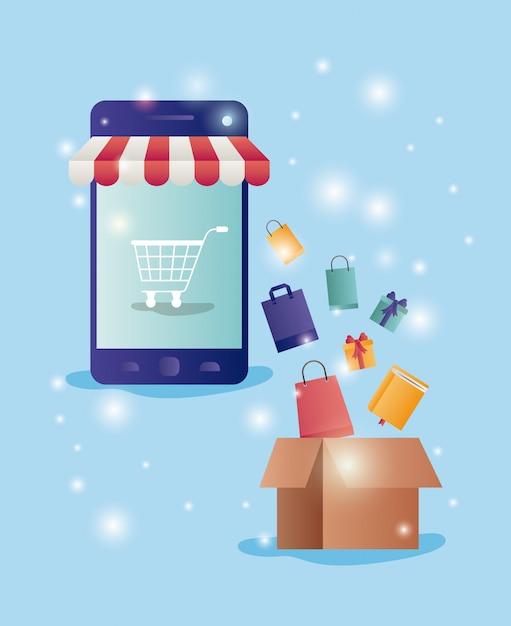 Smartphone met parasolecommercepictogrammen Premium Vector