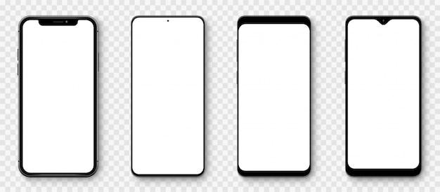 Smartphone met realistische modellen met transparante schermen. smartphone-collectie. vooraanzicht apparaat. 3d-mobiele telefoon met schaduw op transparante achtergrond Premium Vector