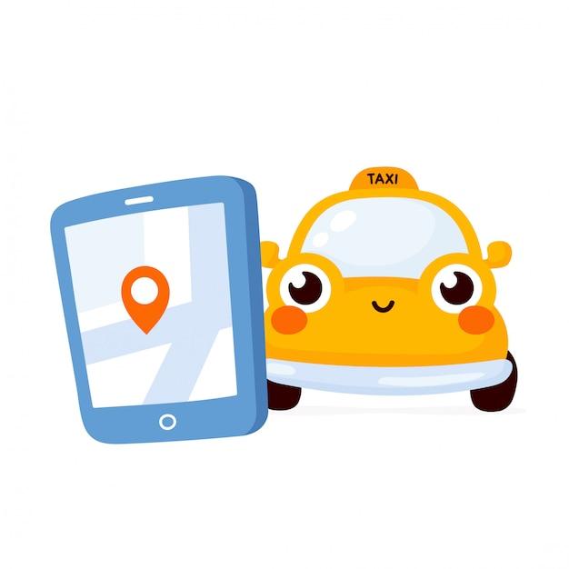 Smartphone met taxi-service mobiele app en een auto op de weg. leuk gelukkig geel autokarakter. Premium Vector