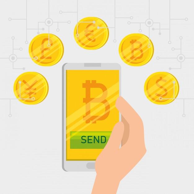Smartphone met virtuele bitcoin-valuta Gratis Vector