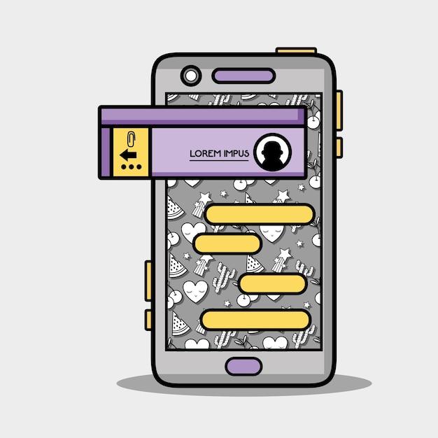 Smartphone met whatsapp chatballonbericht Premium Vector