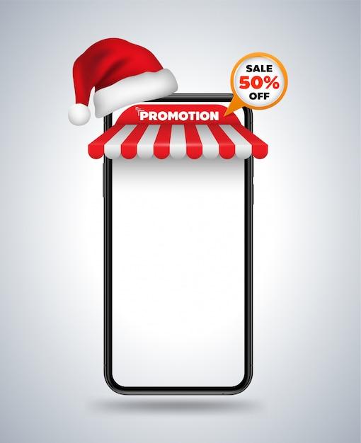 Smartphone mockup dak winkel en kerstmuts Premium Vector