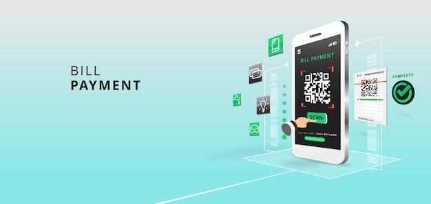 Smartphone om qr-code op papier te scannen voor detail, technologie en bedrijfsconcept met toepassing en pictogram. illustratie. Premium Vector