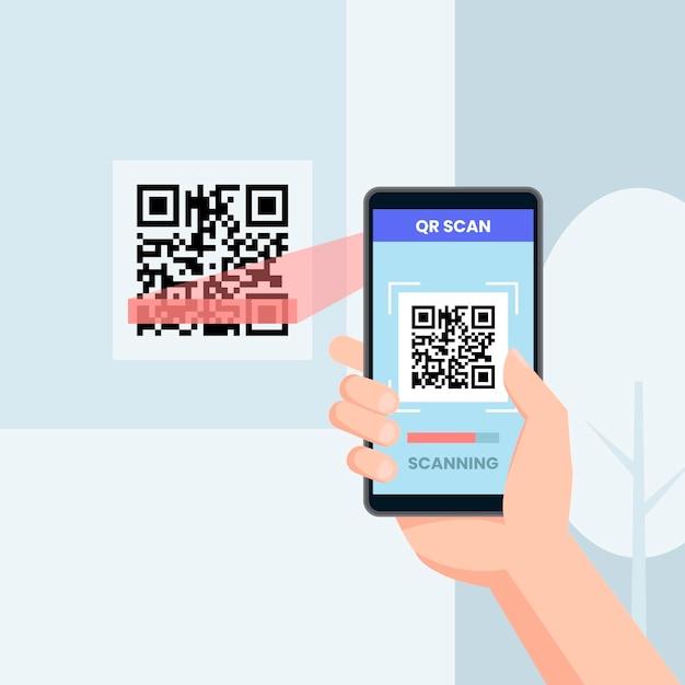 Smartphone qr-code scannen Gratis Vector