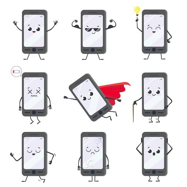 Smartphone stripfiguur. mascotte mobiele telefoon met handen, benen en lachend gezicht op het display. gelukkig smartphones ingesteld Premium Vector