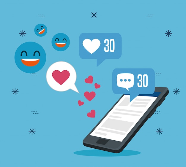 Smartphone-technologie met sociaal profielbericht Gratis Vector