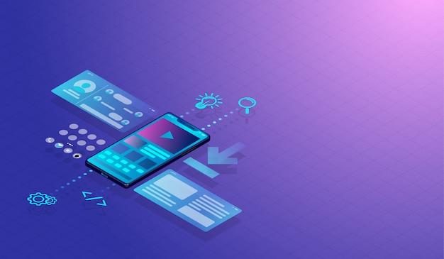 Smartphone ui-ux ontwerpconcept en toepassing Premium Vector