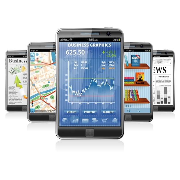 Smartphones met verschillende applicaties Premium Vector