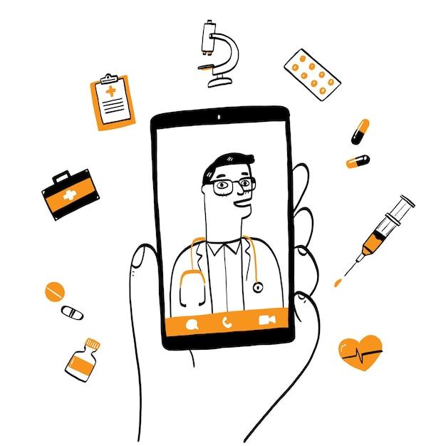 Smartphonescherm met mannelijke therapeut op chat in messenger en een online consult. Premium Vector