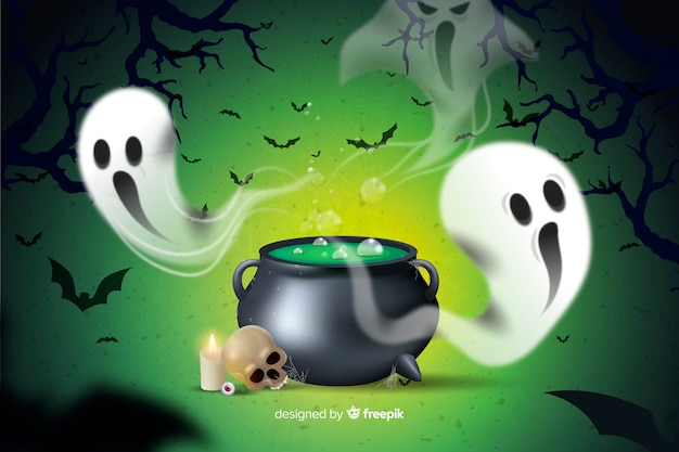 Smeltende pot en spookhalloween-achtergrond Gratis Vector