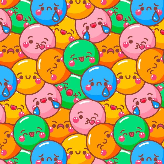 Smile emoticons kleurrijke patroon Gratis Vector