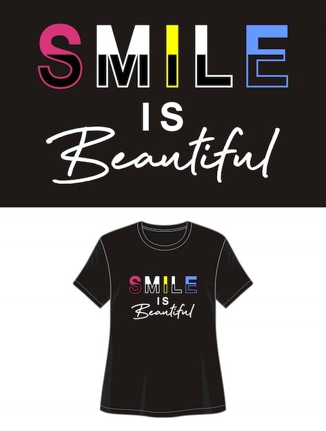 Smile is een mooie typografie voor een print-shirt Premium Vector