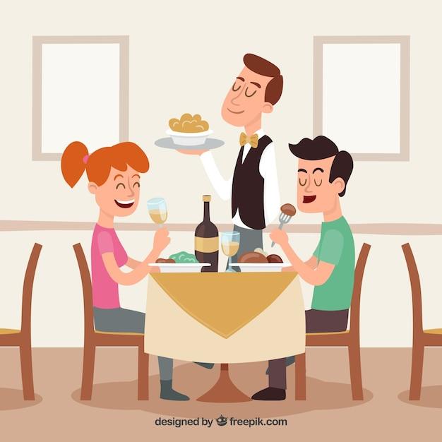 Smiley paar en ober in restaurant Gratis Vector