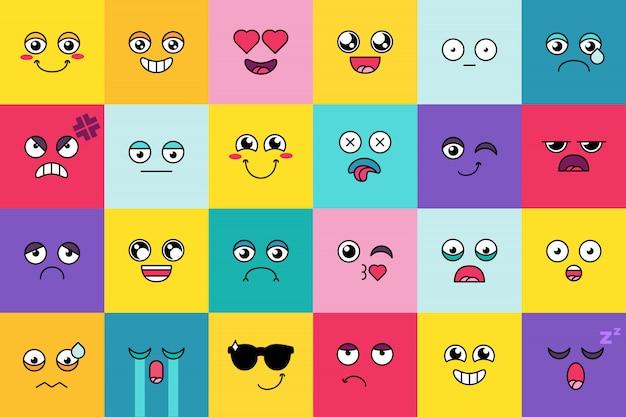 Smiley, schattige emoji-sticker set. leuke moticon, sociale media cartoon gezicht pack. stemming expressie Premium Vector