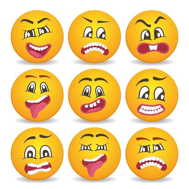 Smileygezichten met verschillende gezichtsuitdrukkingen Premium Vector