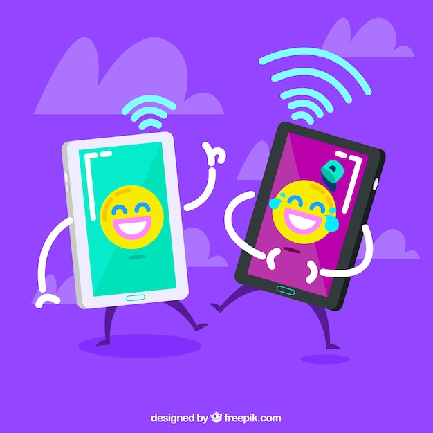 Smileys mobiel behang Gratis Vector