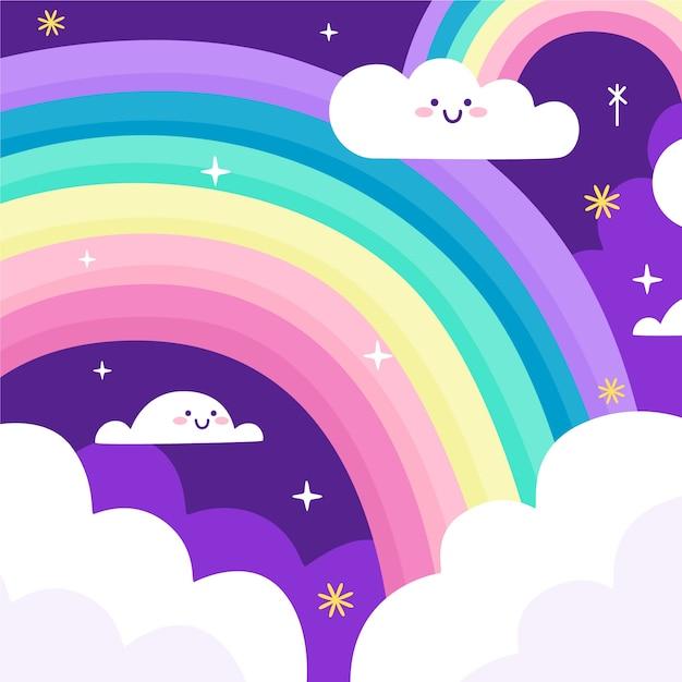 Smileywolken en regenboog in de nacht Gratis Vector