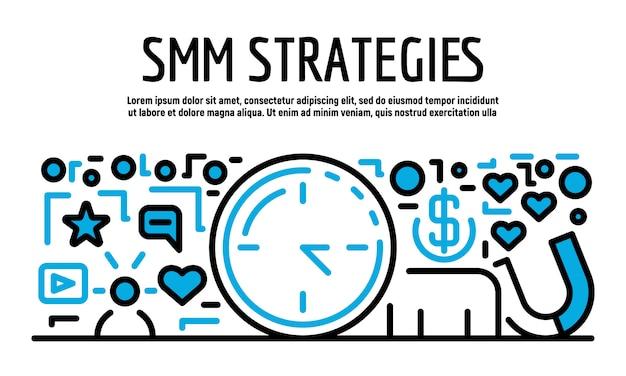 Smm strategieën banner, overzichtsstijl Premium Vector