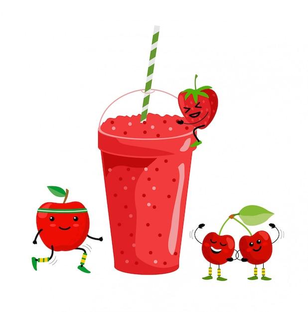 Smoothie drankje. vers zomerfruitensap. smoothie van rood fruit. schattige cartoon fruit met mok. menu, gezonde veganistische levensstijl illustratie drinken Premium Vector