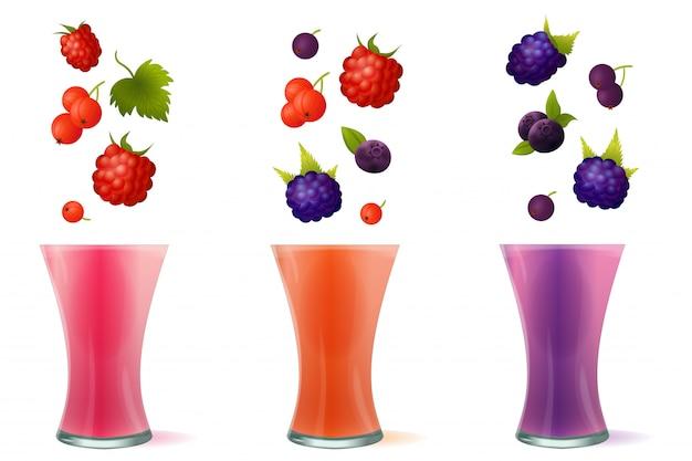 Smoothie gezonde berry drinks-illustratie Premium Vector