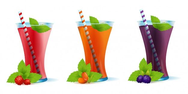 Smoothie healthy berry drinks set-illustratie Premium Vector