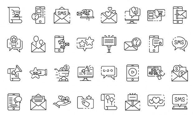 Sms marketing geplaatste pictogrammen, schetst stijl Premium Vector