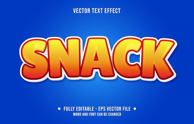 Snack bewerkbaar teksteffect moderne verloopstijl Premium Vector