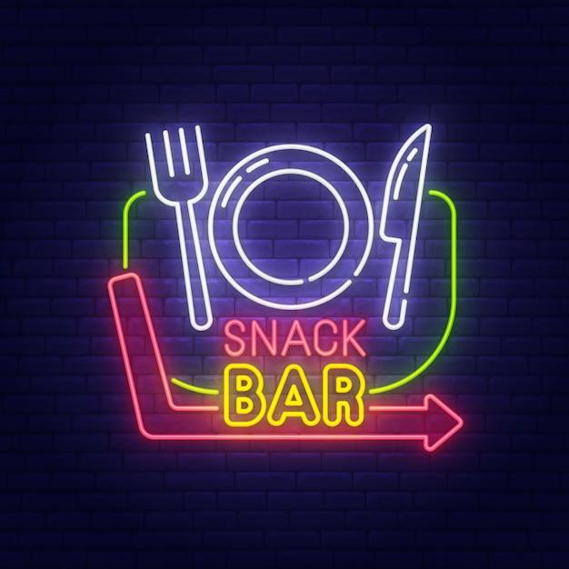 Snackbar neon teken Premium Vector