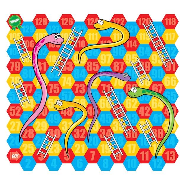 Snake and ladder board game vector set Premium Vector