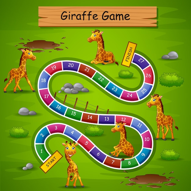 Snakes and ladders game giraffe theme Premium Vector